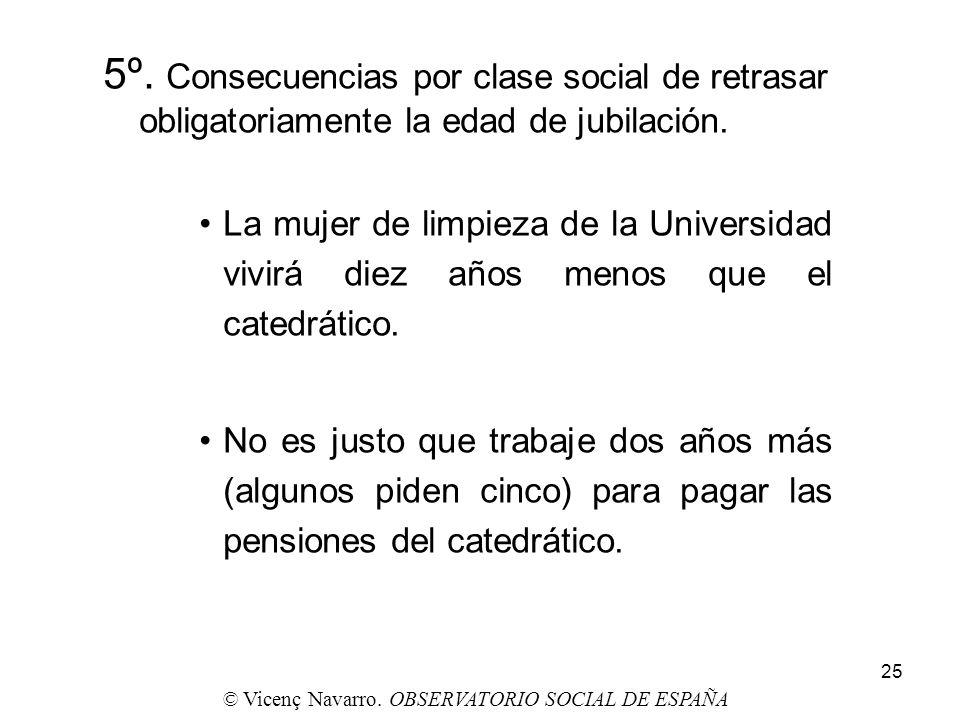25 5º. Consecuencias por clase social de retrasar obligatoriamente la edad de jubilación. La mujer de limpieza de la Universidad vivirá diez años meno