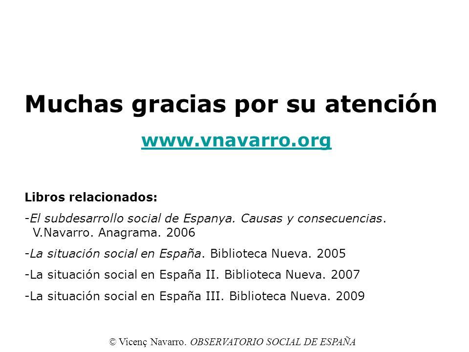 35 Muchas gracias por su atención www.vnavarro.org Libros relacionados: -El subdesarrollo social de Espanya. Causas y consecuencias. V.Navarro. Anagra