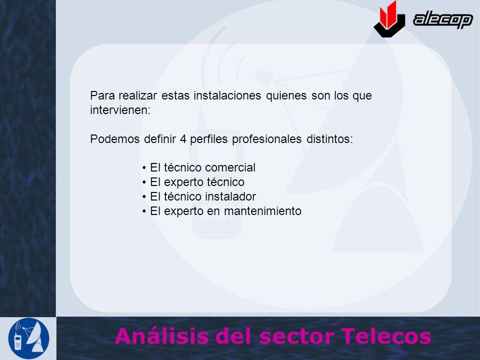 Análisis del sector Telecos Para realizar estas instalaciones quienes son los que intervienen: Podemos definir 4 perfiles profesionales distintos: El