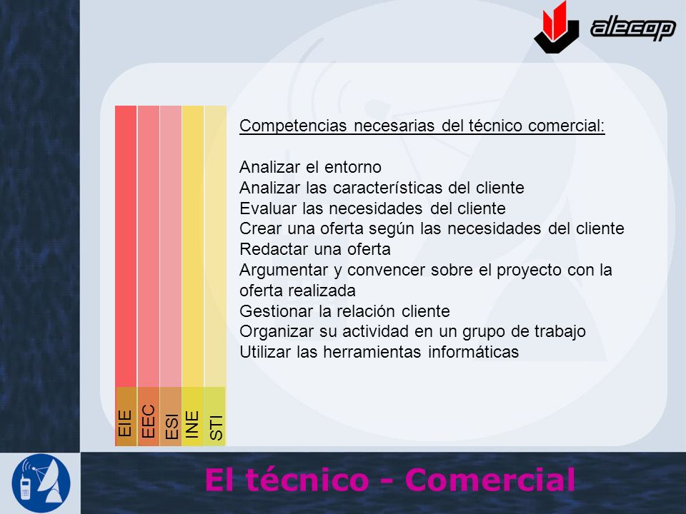 El técnico - Comercial Competencias necesarias del técnico comercial: Analizar el entorno Analizar las características del cliente Evaluar las necesid