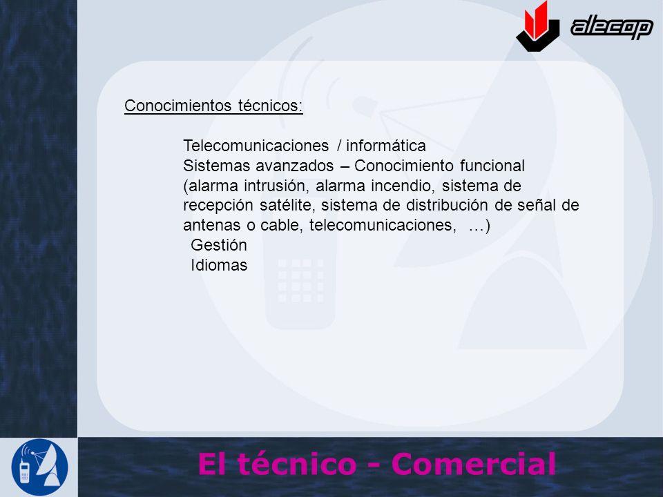 El técnico - Comercial Conocimientos técnicos: Telecomunicaciones / informática Sistemas avanzados – Conocimiento funcional (alarma intrusión, alarma