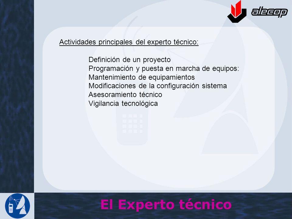El Experto técnico Actividades principales del experto técnico: Definición de un proyecto Programación y puesta en marcha de equipos: Mantenimiento de