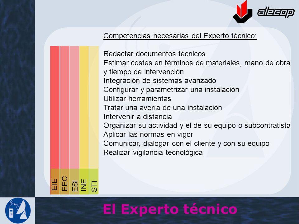 Competencias necesarias del Experto técnico: Redactar documentos técnicos Estimar costes en términos de materiales, mano de obra y tiempo de intervenc