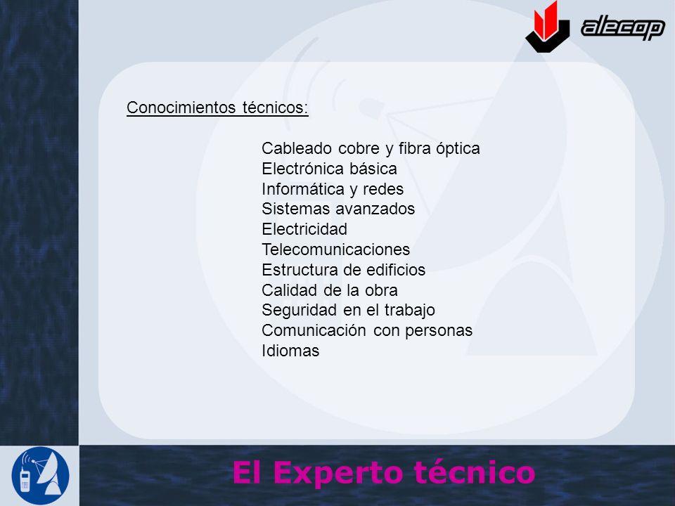 Conocimientos técnicos: Cableado cobre y fibra óptica Electrónica básica Informática y redes Sistemas avanzados Electricidad Telecomunicaciones Estruc