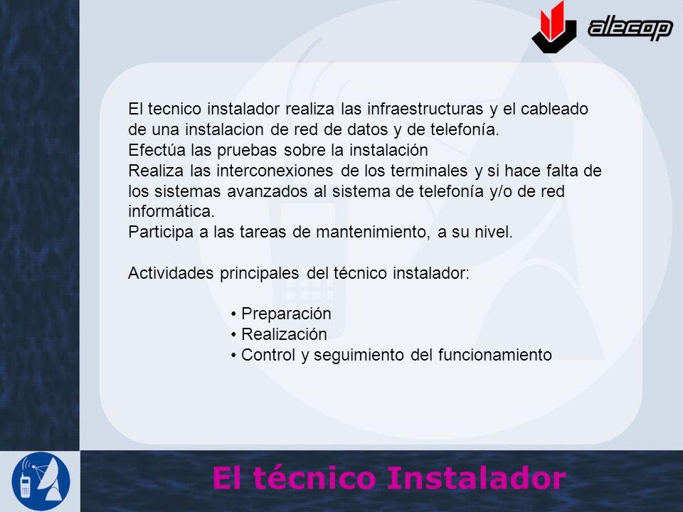 El técnico Instalador El tecnico instalador realiza las infraestructuras y el cableado de una instalacion de red de datos y de telefonía. Efectúa las