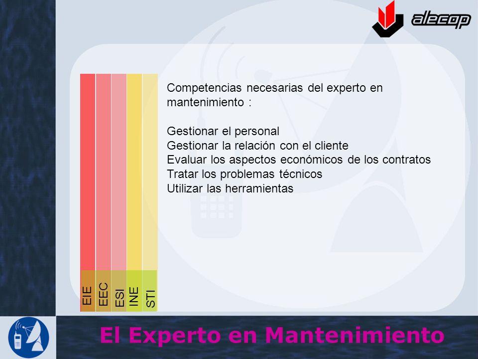 Competencias necesarias del experto en mantenimiento : Gestionar el personal Gestionar la relación con el cliente Evaluar los aspectos económicos de l