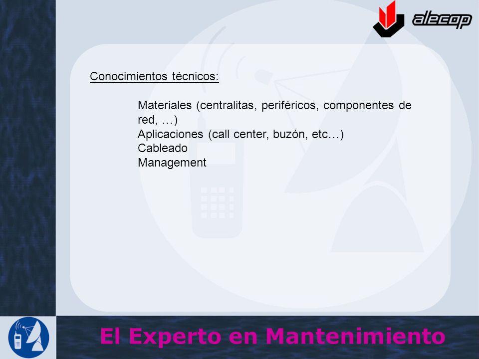 Conocimientos técnicos: Materiales (centralitas, periféricos, componentes de red, …) Aplicaciones (call center, buzón, etc…) Cableado Management El Ex