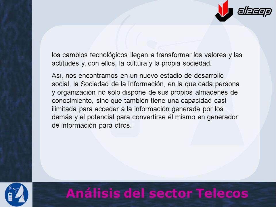 Análisis del sector Telecos los cambios tecnológicos llegan a transformar los valores y las actitudes y, con ellos, la cultura y la propia sociedad. A