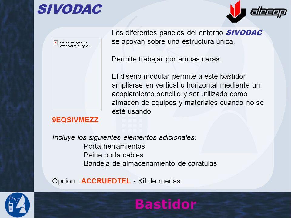 Bastidor SIVODAC Los diferentes paneles del entorno SIVODAC se apoyan sobre una estructura única. Permite trabajar por ambas caras. El diseño modular
