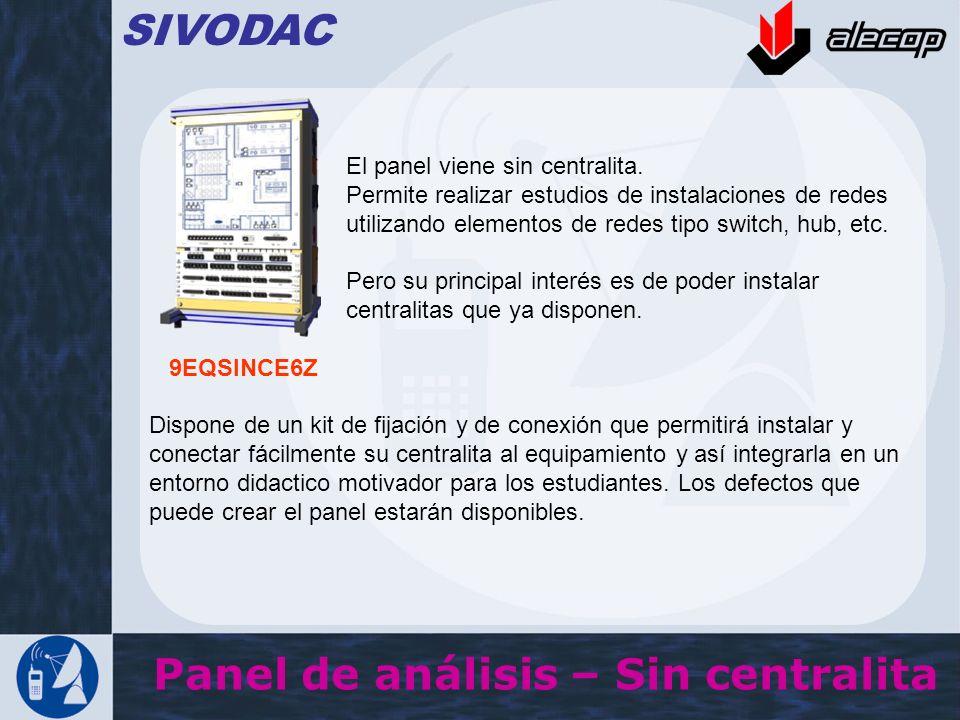 Panel de análisis – Sin centralita SIVODAC El panel viene sin centralita. Permite realizar estudios de instalaciones de redes utilizando elementos de