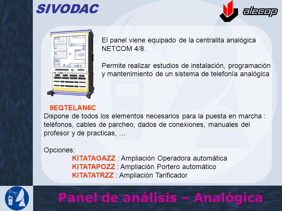 Panel de análisis – Analógica SIVODAC El panel viene equipado de la centralita analógica NETCOM 4/8. Permite realizar estudios de instalación, program