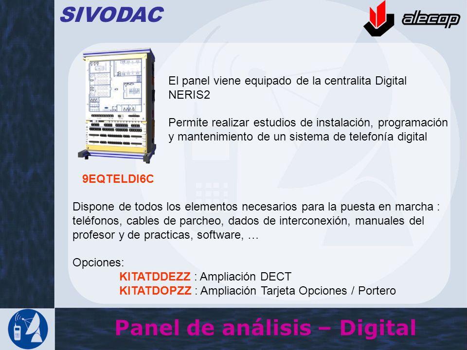 Panel de análisis – Digital SIVODAC El panel viene equipado de la centralita Digital NERIS2 Permite realizar estudios de instalación, programación y m