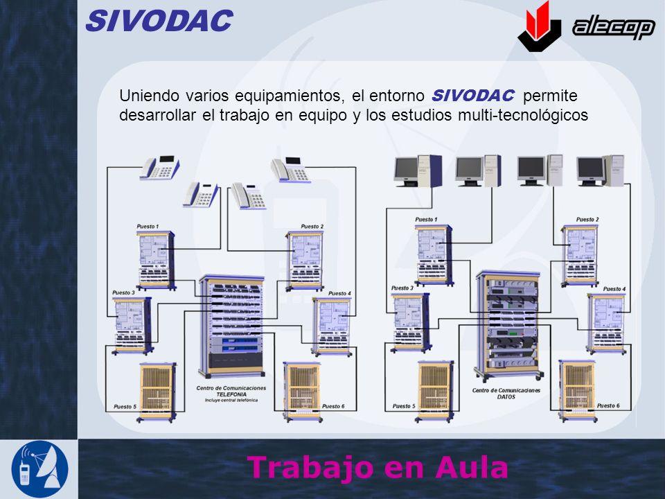 Trabajo en Aula SIVODAC Uniendo varios equipamientos, el entorno SIVODAC permite desarrollar el trabajo en equipo y los estudios multi-tecnológicos