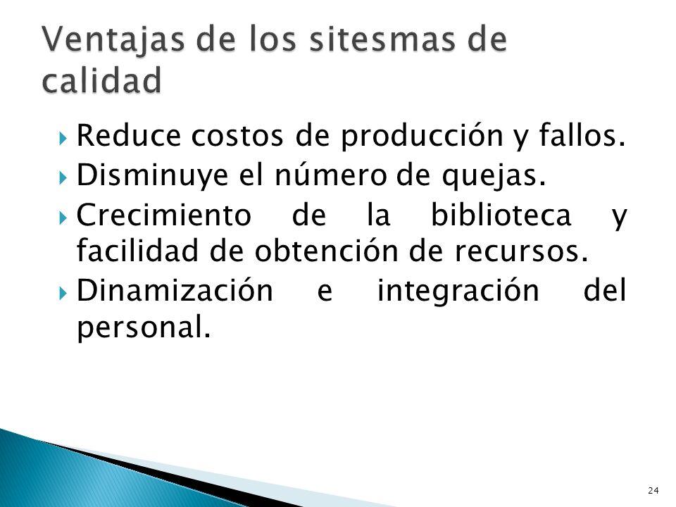 Reduce costos de producción y fallos.Disminuye el número de quejas.