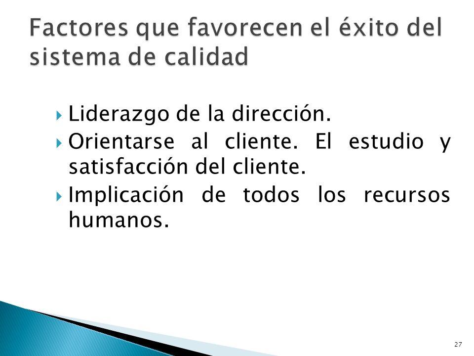 Liderazgo de la dirección. Orientarse al cliente. El estudio y satisfacción del cliente. Implicación de todos los recursos humanos. 27