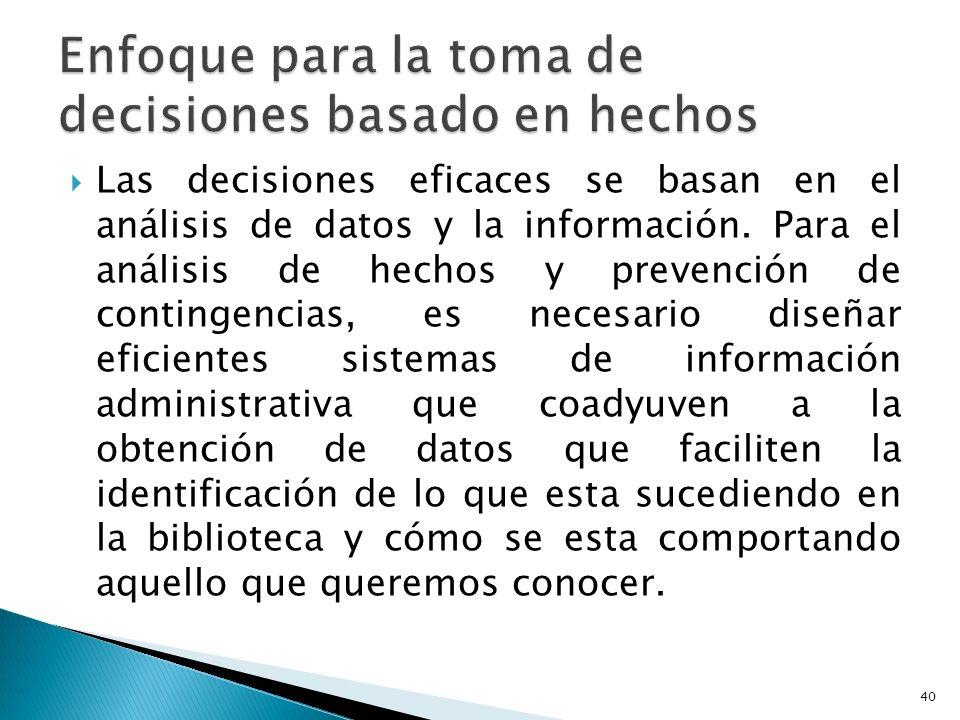 Las decisiones eficaces se basan en el análisis de datos y la información. Para el análisis de hechos y prevención de contingencias, es necesario dise