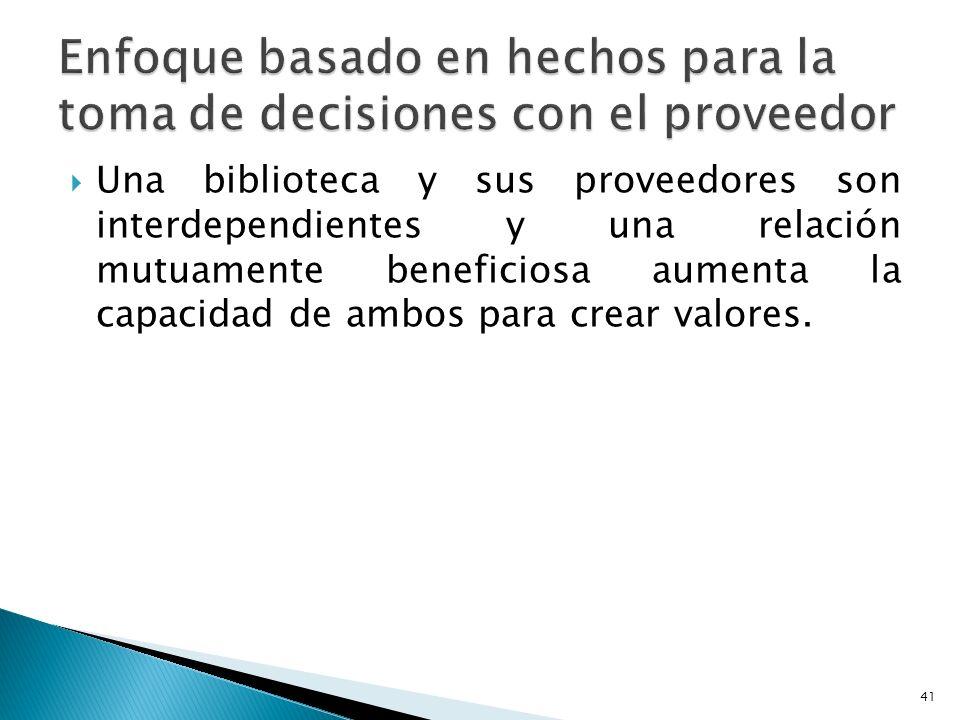Una biblioteca y sus proveedores son interdependientes y una relación mutuamente beneficiosa aumenta la capacidad de ambos para crear valores. 41