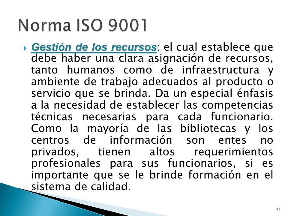 Gestión de los recursos Gestión de los recursos : el cual establece que debe haber una clara asignación de recursos, tanto humanos como de infraestructura y ambiente de trabajo adecuados al producto o servicio que se brinda.