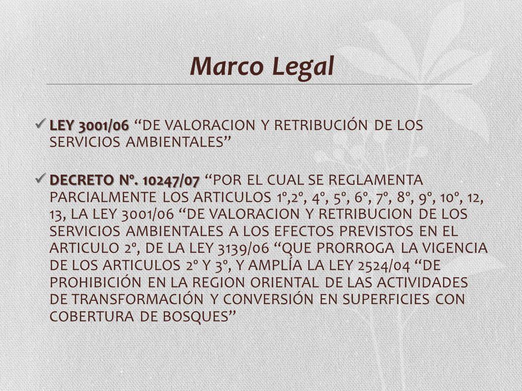 Marco Legal LEY 3001/06 LEY 3001/06 DE VALORACION Y RETRIBUCIÓN DE LOS SERVICIOS AMBIENTALES DECRETO Nº. 10247/07 DECRETO Nº. 10247/07 POR EL CUAL SE