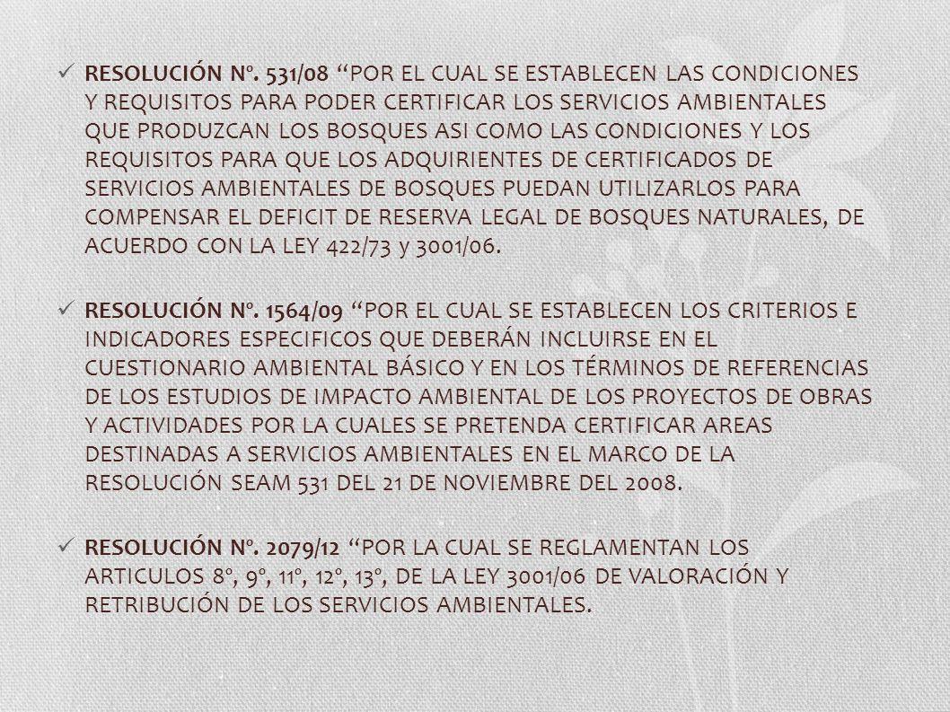 RESOLUCIÓN Nº. 531/08 POR EL CUAL SE ESTABLECEN LAS CONDICIONES Y REQUISITOS PARA PODER CERTIFICAR LOS SERVICIOS AMBIENTALES QUE PRODUZCAN LOS BOSQUES
