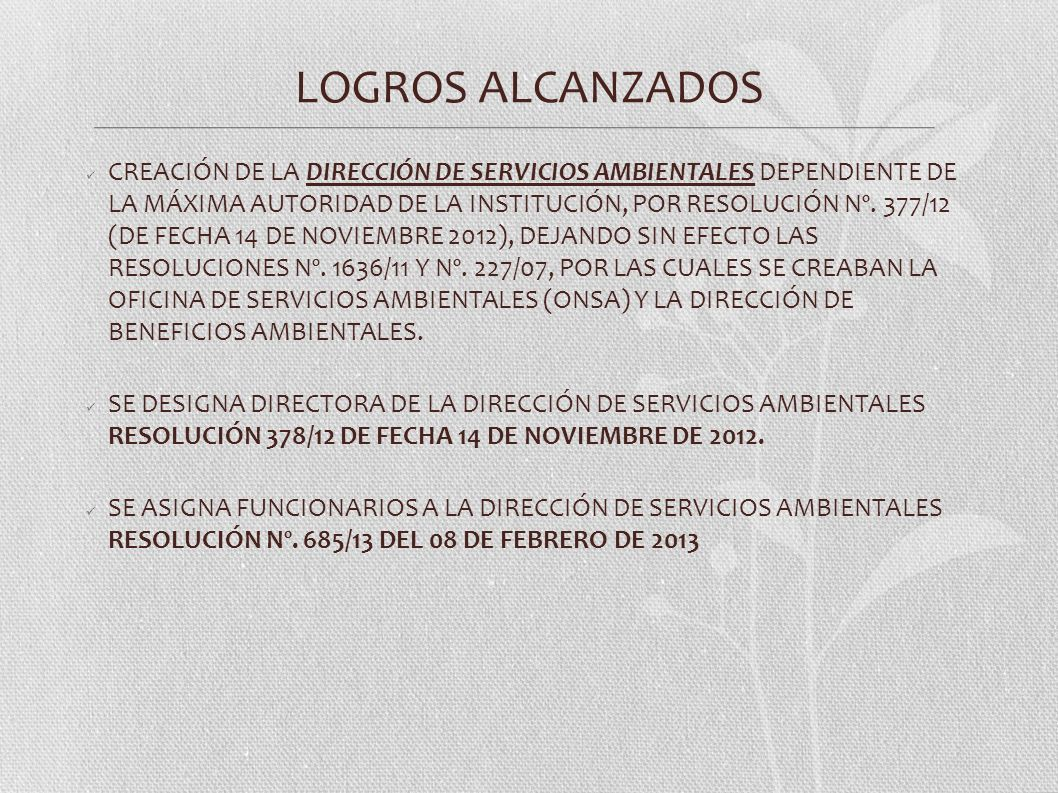 LOGROS ALCANZADOS CREACIÓN DE LA DIRECCIÓN DE SERVICIOS AMBIENTALES DEPENDIENTE DE LA MÁXIMA AUTORIDAD DE LA INSTITUCIÓN, POR RESOLUCIÓN Nº. 377/12 (D
