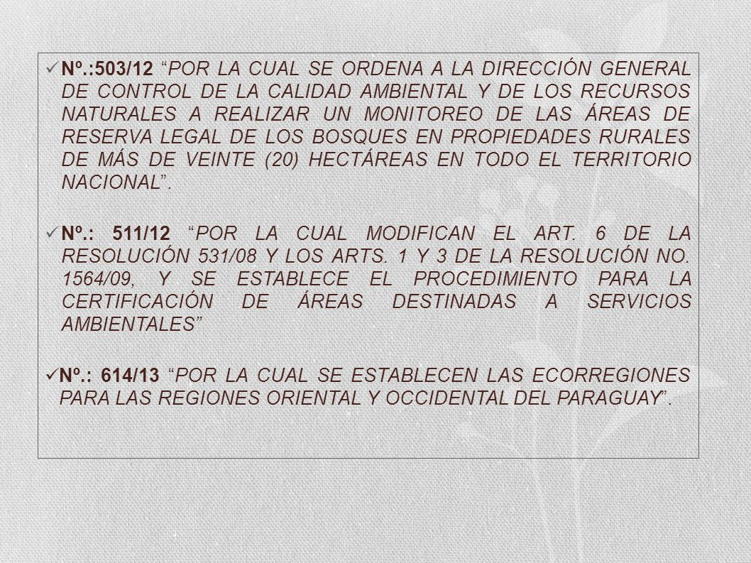 Nº.:503/12 POR LA CUAL SE ORDENA A LA DIRECCIÓN GENERAL DE CONTROL DE LA CALIDAD AMBIENTAL Y DE LOS RECURSOS NATURALES A REALIZAR UN MONITOREO DE LAS