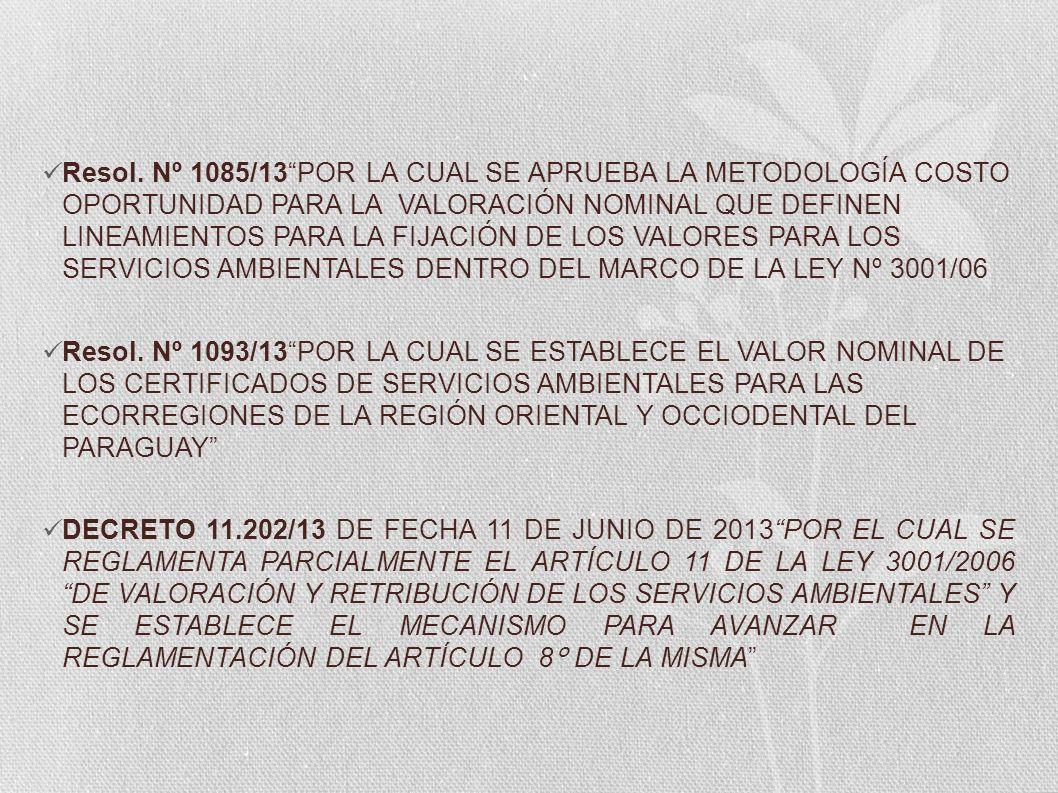 Resol. Nº 1085/13POR LA CUAL SE APRUEBA LA METODOLOGÍA COSTO OPORTUNIDAD PARA LA VALORACIÓN NOMINAL QUE DEFINEN LINEAMIENTOS PARA LA FIJACIÓN DE LOS V
