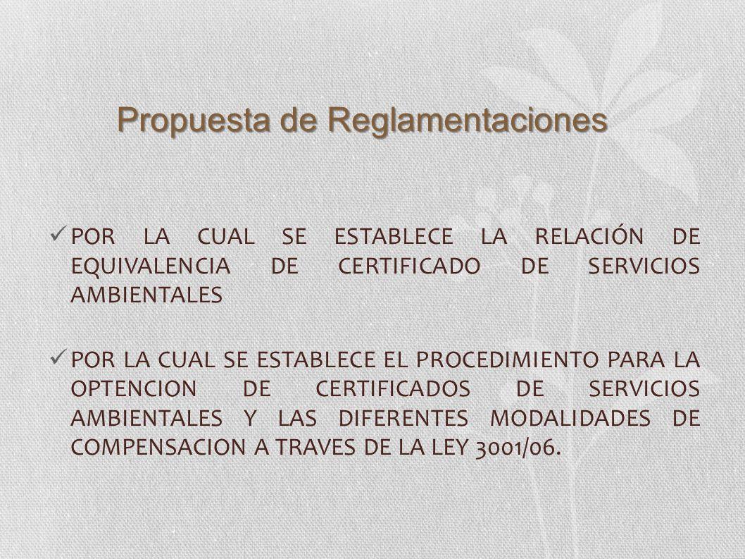 POR LA CUAL SE ESTABLECE LA RELACIÓN DE EQUIVALENCIA DE CERTIFICADO DE SERVICIOS AMBIENTALES POR LA CUAL SE ESTABLECE EL PROCEDIMIENTO PARA LA OPTENCI