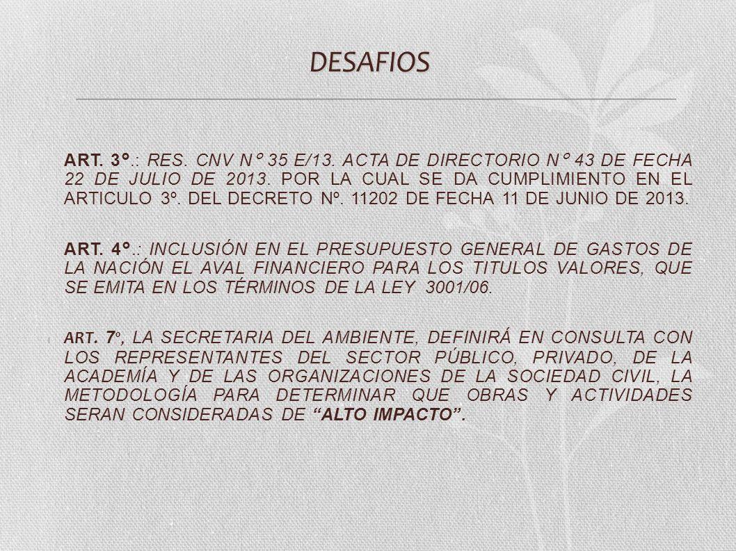DESAFIOS ART. 3°.: RES. CNV N° 35 E/13. ACTA DE DIRECTORIO N° 43 DE FECHA 22 DE JULIO DE 2013. POR LA CUAL SE DA CUMPLIMIENTO EN EL ARTICULO 3º. DEL D