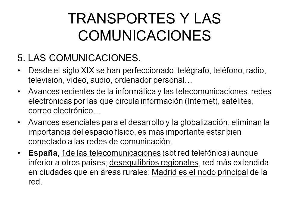 TRANSPORTES Y LAS COMUNICACIONES 5. LAS COMUNICACIONES. Desde el siglo XIX se han perfeccionado: telégrafo, teléfono, radio, televisión, vídeo, audio,