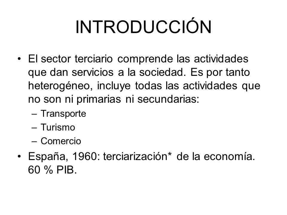 INTRODUCCIÓN El sector terciario comprende las actividades que dan servicios a la sociedad. Es por tanto heterogéneo, incluye todas las actividades qu