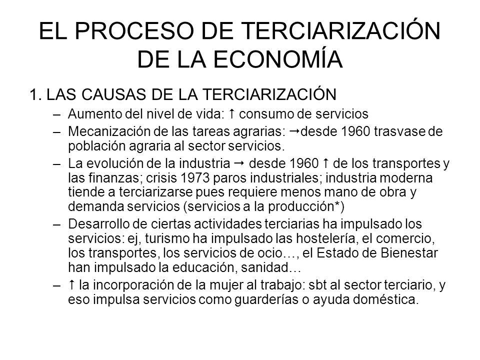 EL PROCESO DE TERCIARIZACIÓN DE LA ECONOMÍA 1. LAS CAUSAS DE LA TERCIARIZACIÓN –Aumento del nivel de vida: consumo de servicios –Mecanización de las t