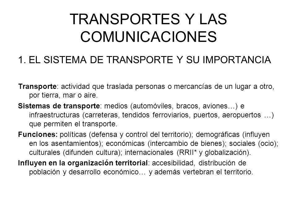 TRANSPORTES Y LAS COMUNICACIONES 1. EL SISTEMA DE TRANSPORTE Y SU IMPORTANCIA Transporte: actividad que traslada personas o mercancías de un lugar a o