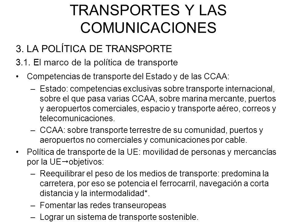 TRANSPORTES Y LAS COMUNICACIONES 3. LA POLÍTICA DE TRANSPORTE 3.1. El marco de la política de transporte Competencias de transporte del Estado y de la