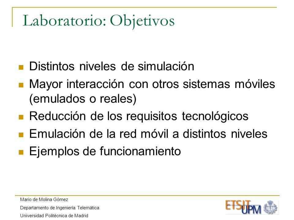 Mario de Molina Gómez Departamento de Ingeniería Telemática Universidad Politécnica de Madrid Laboratorio: Objetivos Distintos niveles de simulación M