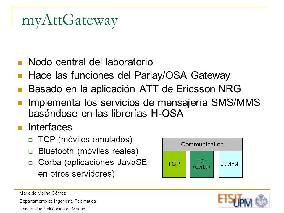Mario de Molina Gómez Departamento de Ingeniería Telemática Universidad Politécnica de Madrid myAttGateway Nodo central del laboratorio Hace las funci