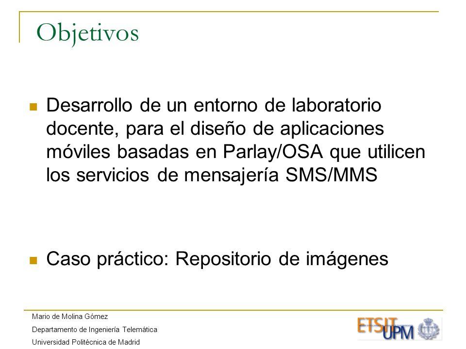 Mario de Molina Gómez Departamento de Ingeniería Telemática Universidad Politécnica de Madrid Objetivos Desarrollo de un entorno de laboratorio docent
