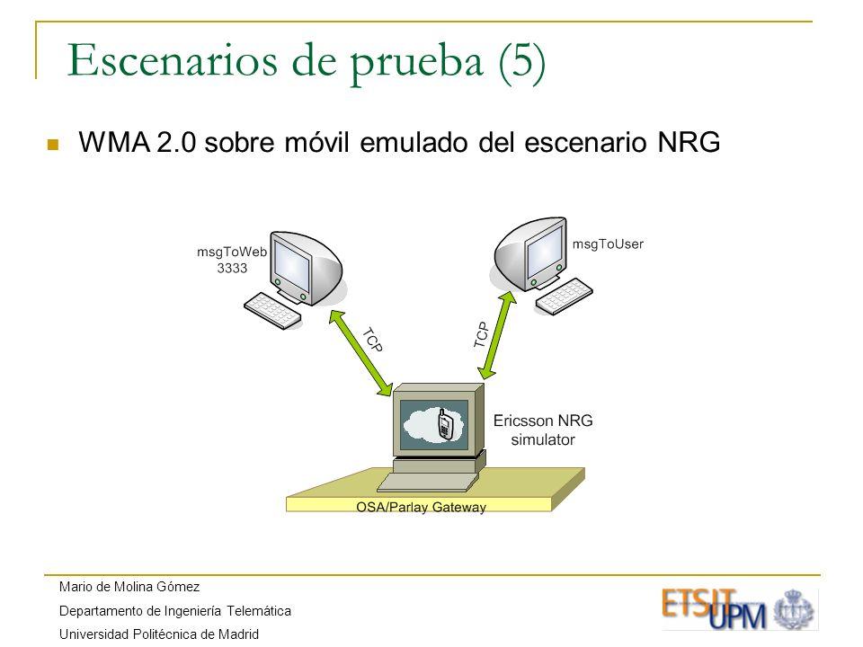 Mario de Molina Gómez Departamento de Ingeniería Telemática Universidad Politécnica de Madrid Escenarios de prueba (5) WMA 2.0 sobre móvil emulado del