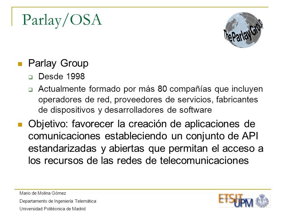 Mario de Molina Gómez Departamento de Ingeniería Telemática Universidad Politécnica de Madrid Parlay/OSA Parlay Group Desde 1998 Actualmente formado p