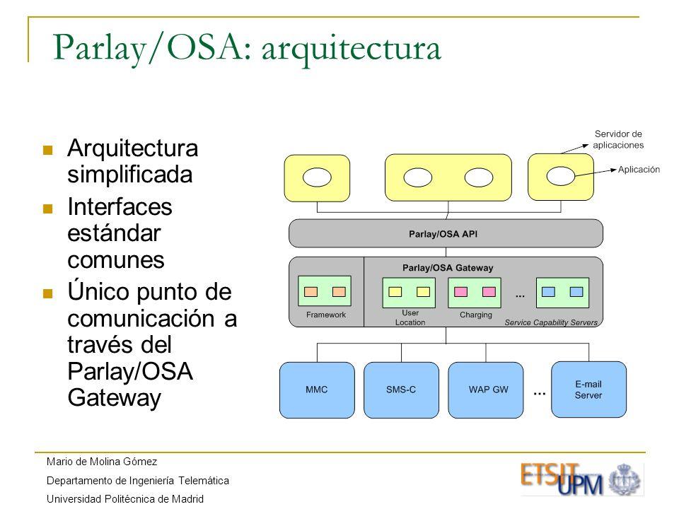 Mario de Molina Gómez Departamento de Ingeniería Telemática Universidad Politécnica de Madrid Parlay/OSA Framework Componente esencial del Parlay/OSA Gateway Encargado de establecer la relación de confianza entre los operadores de red y los proveedores de servicios.
