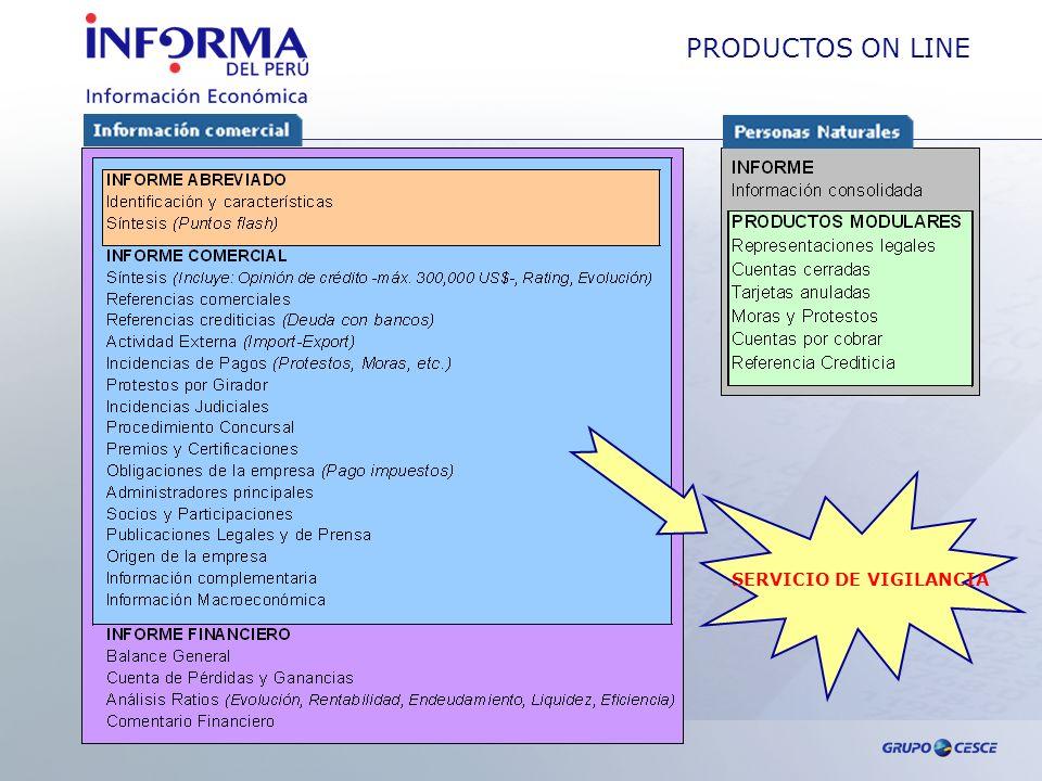 PRODUCTOS ON LINE SERVICIO DE VIGILANCIA