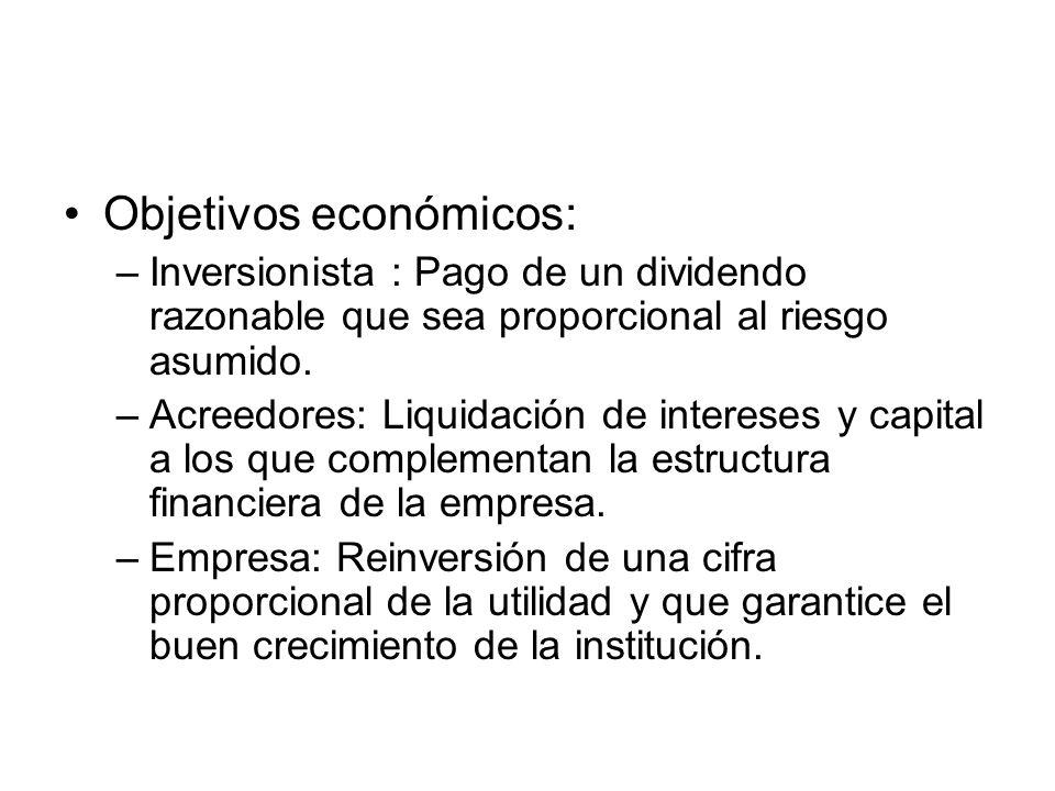 Objetivos económicos: –Inversionista : Pago de un dividendo razonable que sea proporcional al riesgo asumido.