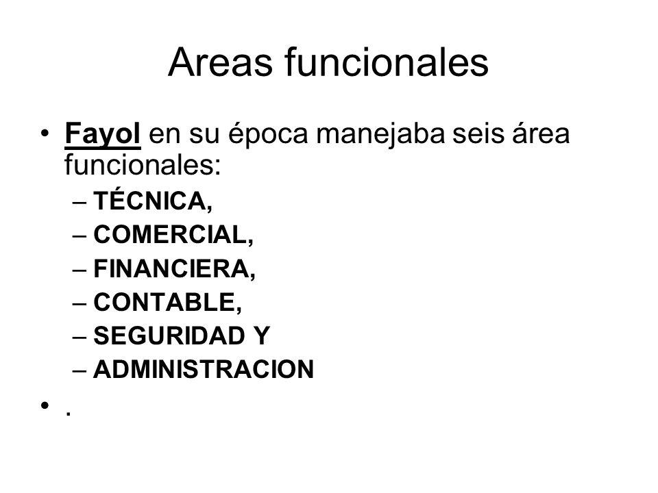 Areas funcionales Fayol en su época manejaba seis área funcionales: –TÉCNICA, –COMERCIAL, –FINANCIERA, –CONTABLE, –SEGURIDAD Y –ADMINISTRACION.