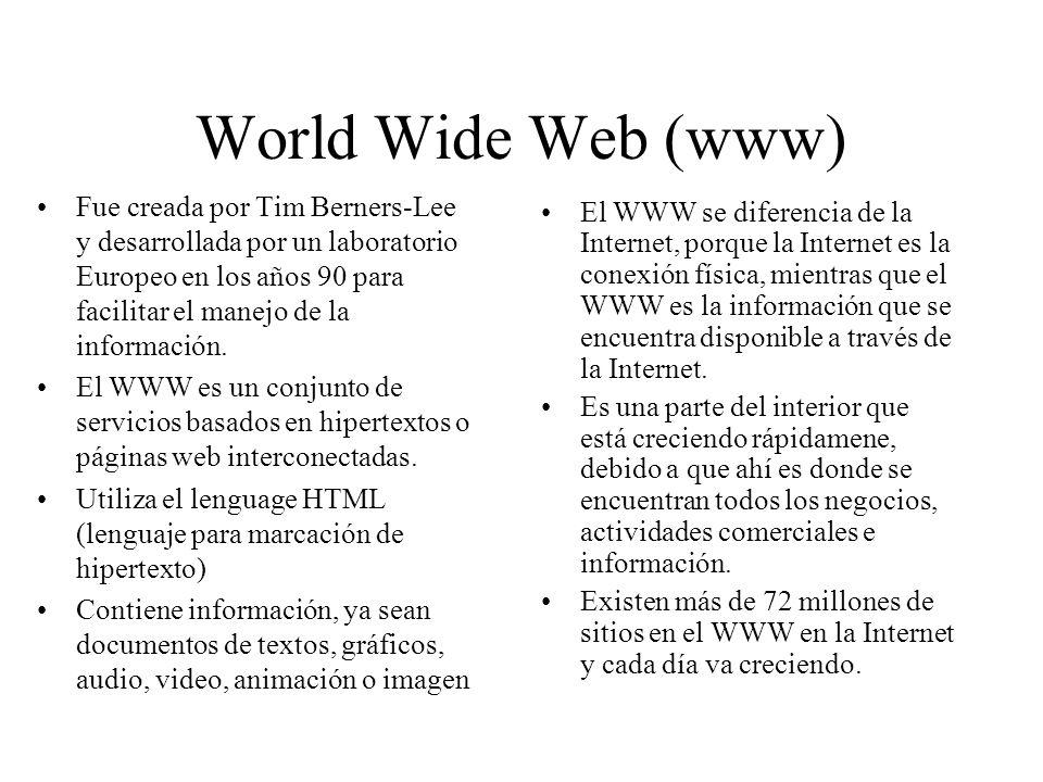 Partes de una Dirección Web Protocolo Nombre del Archivo Ruta dentro del servidor http://www.cfnavarra.es/index.htm Localizador uniforme de recursos Es el nombre de la página Es el archivo final.