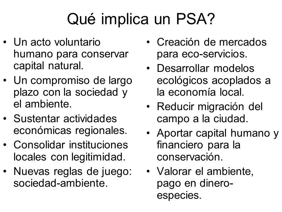 Qué implica un PSA? Un acto voluntario humano para conservar capital natural. Un compromiso de largo plazo con la sociedad y el ambiente. Sustentar ac