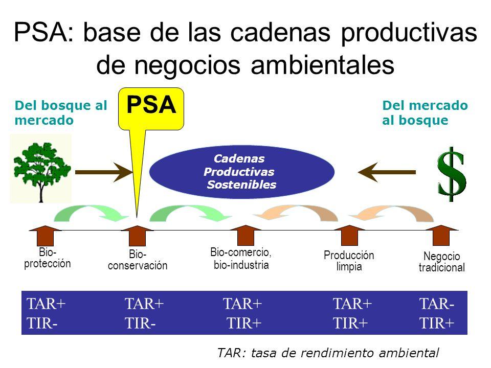 PSA: base de las cadenas productivas de negocios ambientales TAR+TAR+TAR+ TAR+ TAR- TIR-TIR- TIR+ TIR+TIR+ Bio- protección Bio-comercio, bio-industria Bio- conservación Producción limpia Del bosque al mercado Negocio tradicional Cadenas Productivas Sostenibles Del mercado al bosque TAR: tasa de rendimiento ambiental PSA