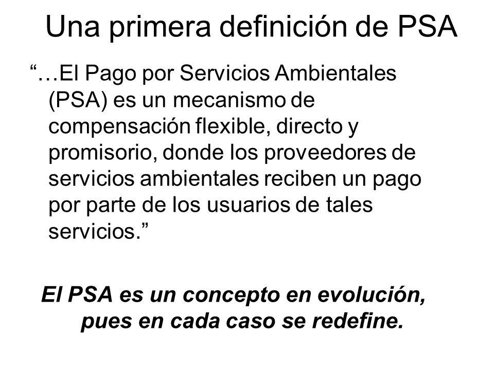Una primera definición de PSA …El Pago por Servicios Ambientales (PSA) es un mecanismo de compensación flexible, directo y promisorio, donde los proveedores de servicios ambientales reciben un pago por parte de los usuarios de tales servicios.