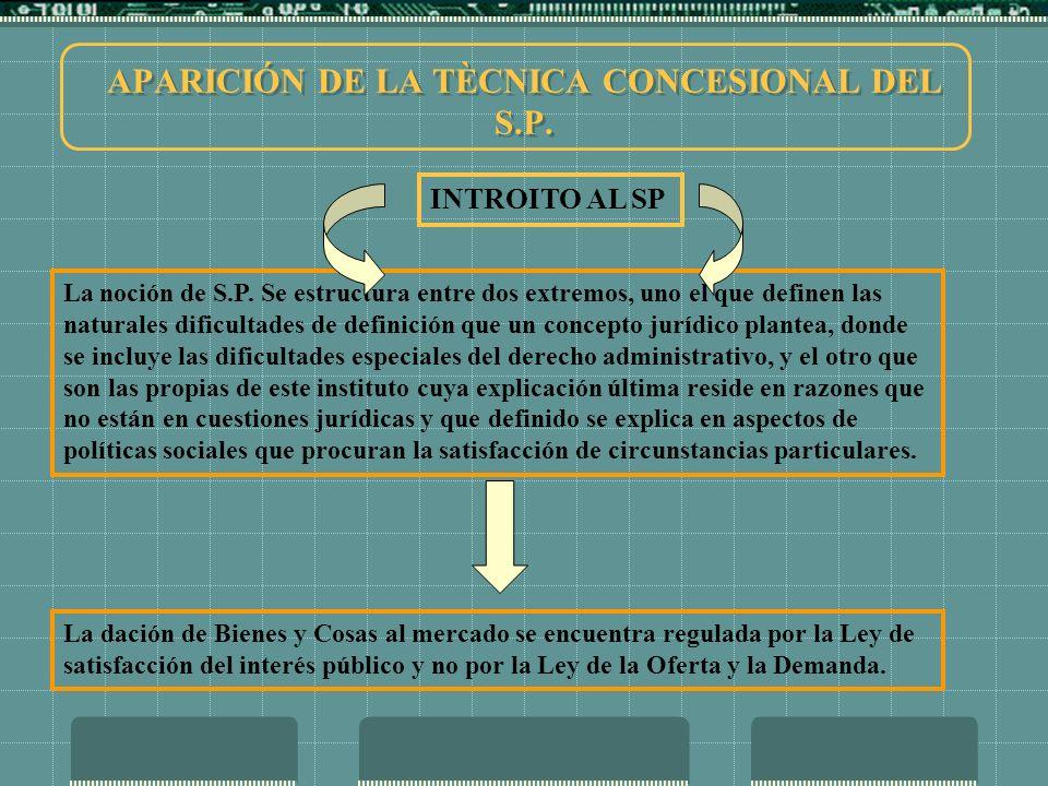 APARICIÓN DE LA TÈCNICA CONCESIONAL DEL S.P.CONSECUENCIAS 1.