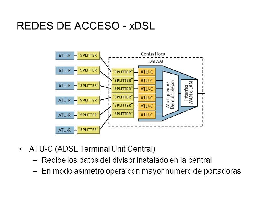 REDES DE ACCESO - xDSL ATU-C (ADSL Terminal Unit Central) –Recibe los datos del divisor instalado en la central –En modo asimetro opera con mayor numero de portadoras