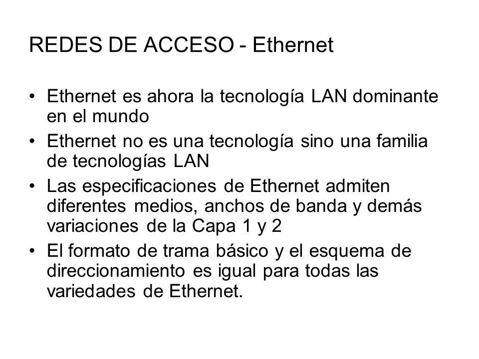 REDES DE ACCESO - Ethernet Ethernet es ahora la tecnología LAN dominante en el mundo Ethernet no es una tecnología sino una familia de tecnologías LAN Las especificaciones de Ethernet admiten diferentes medios, anchos de banda y demás variaciones de la Capa 1 y 2 El formato de trama básico y el esquema de direccionamiento es igual para todas las variedades de Ethernet.